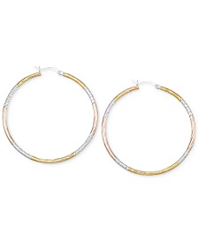 Diamond-Cut Hoop Earrings in 14k Tri-Tone Vermeil (50MM)