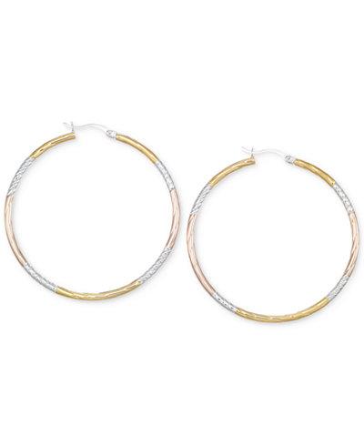 Diamond-Cut Hoop Earrings in 14k Tri-Tone Vermeil (50MM)