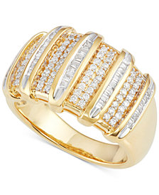 Diamond Multi-Row Ring (1/2 ct. t.w.) in 14k Gold-Plated Sterling Silver