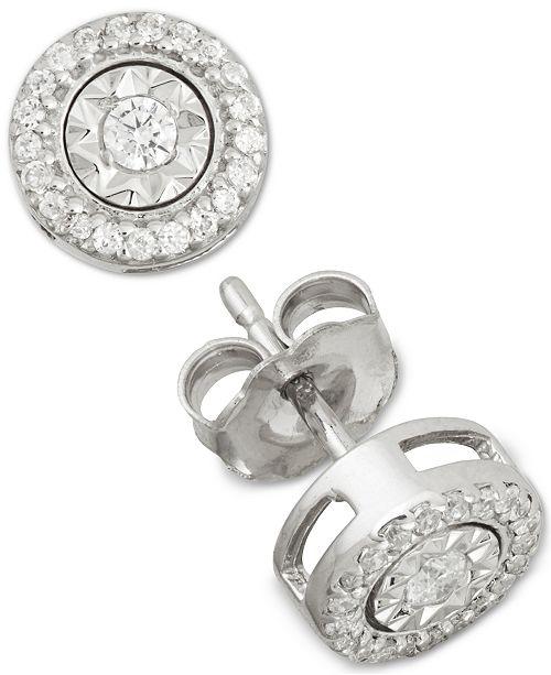 Macy's Diamond Stud Earrings (1/4 ct. t.w.) in Sterling Silver