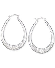 Large Patterned Teardrop Shape Hoop Earrings in 14K White Gold Over Sterling Silver