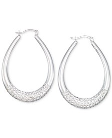 Large Patterned Teardrop Shape Hoop Earrings in 14k White Gold Vermeil