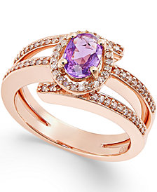 Purple Sapphire (1/2 ct. t.w.) and Diamond (1/3 ct. t.w.) Ring in 14k Rose Gold
