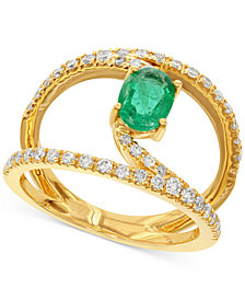 Emerald (7/8 ct. t.w.) and Diamond (1/2 ct. t.w.) Ring in 14k Gold