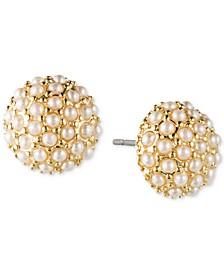 Gold-Tone Imitation Pearl Cluster Stud Earrings