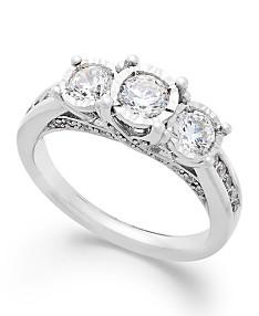 TruMiracle® Three-Stone Diamond Ring in 14k White Gold (1 ct. t.w.