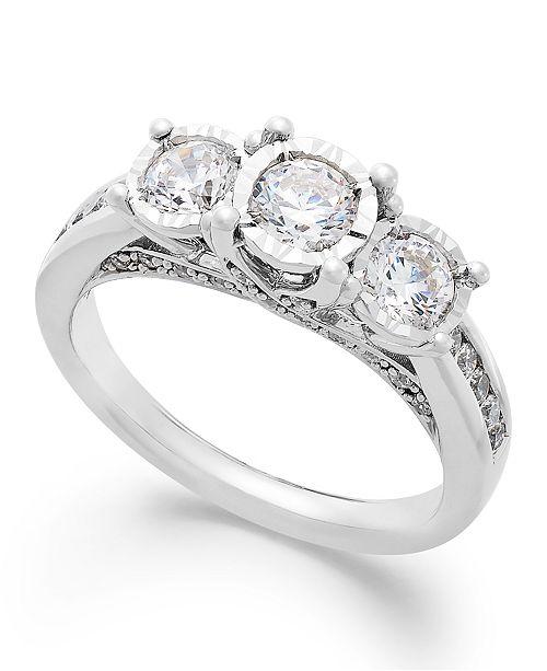TruMiracle Three-Stone Diamond Ring in 14k White Gold (1 ct. t.w.)