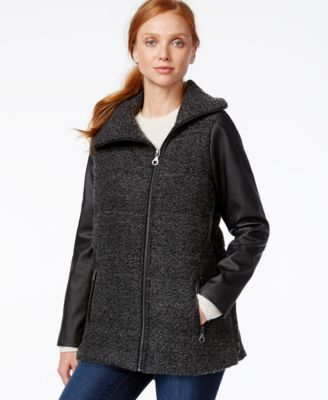 G.H. Bass & Co. Faux-Leather-Sleeve Womens Coat