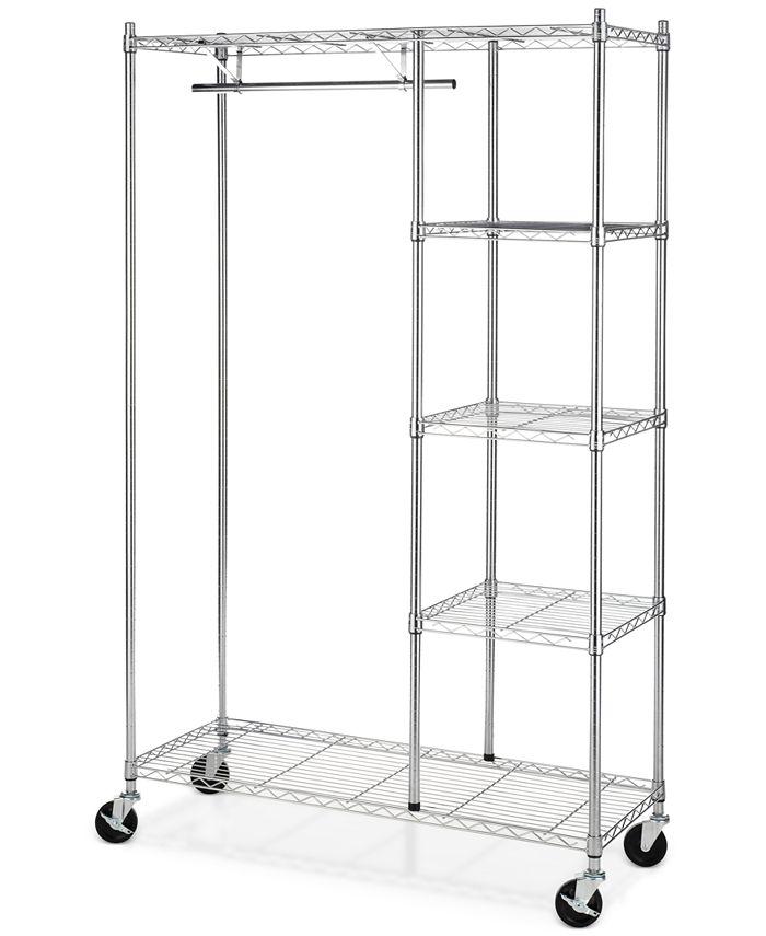 Whitmor - Rolling Garment Rack with Shelves