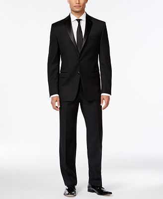 calvin klein black solid modern fit tuxedo separates - suits