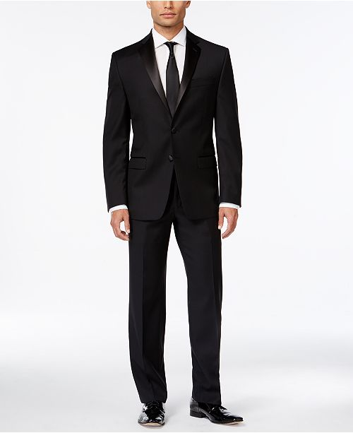 26028c80d5 ... Calvin Klein Black Solid Big and Tall Modern Fit Tuxedo Separates ...