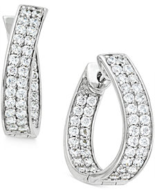 Diamond In-and-Out Hoop Earrings (1-1/2 ct. t.w.) in 14k White Gold