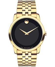 Men's Swiss Museum Classic Gold PVD Stainless Steel Bracelet Watch 40mm 0606997
