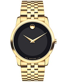 Movado Men's Swiss Museum Classic Gold PVD Stainless Steel Bracelet Watch 40mm 0606997