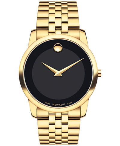 Movado Mens Swiss Museum Classic Gold PVD Stainless Steel