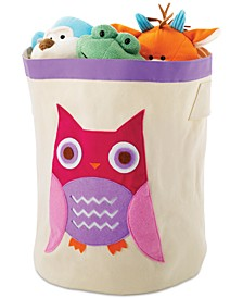 Kids Canvas Cube Storage Bin, Pink Owl