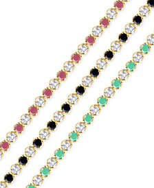 Precious Gemstone and White Topaz Tennis Bracelets in 18k Gold-Plated Sterling Silver