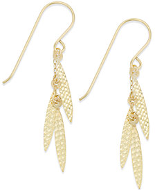 Leaf-Inspired Dangle Drop Earrings in 10k Gold