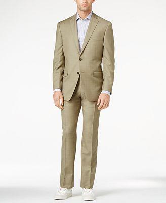 Calvin Klein Tan Sharkskin Slim-Fit Suit