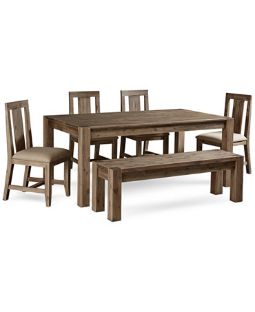 Canyon 6 Piece Dining Set Table 4 Side Chairs And Bench Furniture Macy
