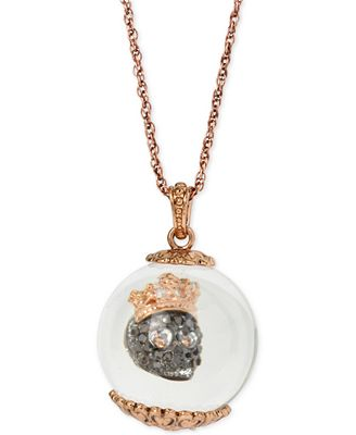 Betsey Johnson Gold-Tone Royal Skull in a Globe Pendant Necklace