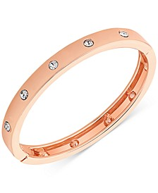 Rose Gold-Tone Hinge Bracelet with Clear Stones