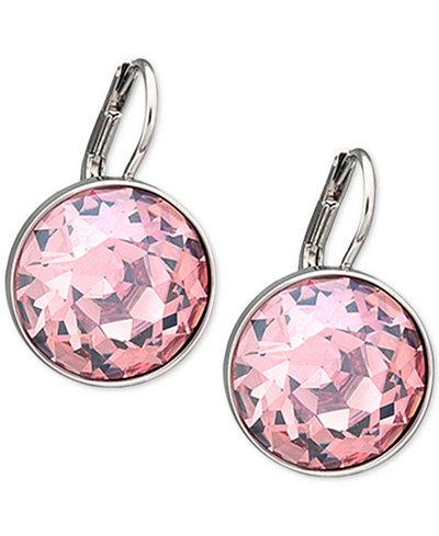 Swarovski Silver-Tone Pink Crystal Drop Earrings