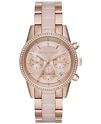 Michael Kors Women's Chronograph Ritz Blush Acetate and Rose Gold-Tone Stainless Steel Bracelet Watch 37mm MK6307