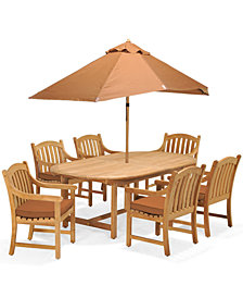 "Bristol Outdoor Teak 7-Pc. Dining Set (87"" x 47"" Dining Table and 6 Dining Chairs), Created for Macy's"