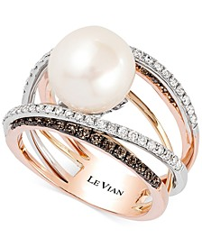 Fresh Water Pearl (10mm) and Diamond (3/4 ct.t.w.) Ring in 14k White, Yellow and Rose Gold