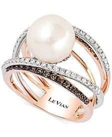 Le Vian Fresh Water Pearl (10mm) and Diamond (3/4 ct.t.w.) Ring in 14k White, Yellow and Rose Gold