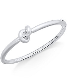 kate spade new york Silver-Tone Love Knot Hinged Bangle Bracelet