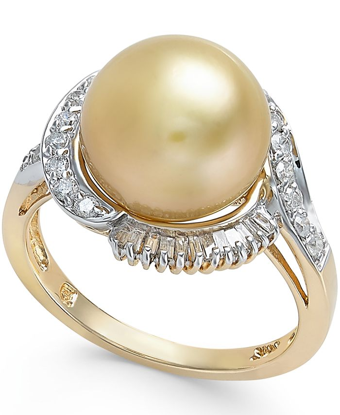 Macy's - Cultured Golden South Sea Pearl (11mm) and Diamond Ring (1/2 ct. t.w.) in 14k Gold