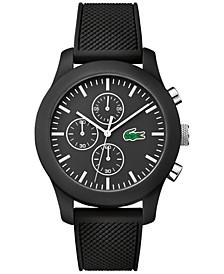 Unisex Chronograph 12.12 Black Silicone Strap Watch 44mm 2010821