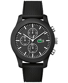 Lacoste Unisex Chronograph 12.12 Black Silicone Strap Watch 44mm 2010821