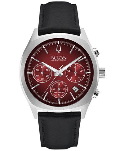 Bulova Accutron II Men's Chronograph Surveyor Black Leather Strap Watch 41mm 96B238