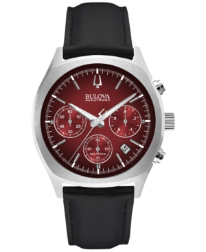 Bulova Accutron Ii Men's Chronograph Surveyor Black Leather Strap Watch 41mm 96B238