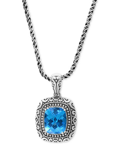BALISSIMA by EFFY Blue Topaz (6-2/3 ct. t.w.) Pendant Necklace in Sterling Silver