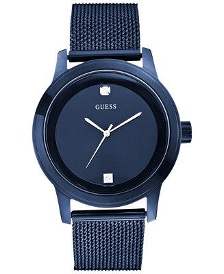 GUESS Men's Diamond Accent Blue Mesh Bracelet