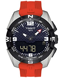 Men's Swiss Analog-Digital T-Touch Solar Red Silicone Strap Watch 45mm T0914204705700