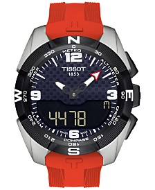 Tissot Men's Swiss Analog-Digital T-Touch Solar Red Silicone Strap Watch 45mm T0914204705700