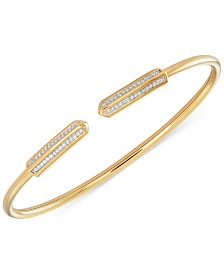 wrapped™ Diamond Bar Flexy Bangle Bracelet (1/6 ct. t.w.) in 14k Gold-Plated Sterling Silver, Created for Macy's