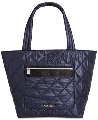 Calvin Klein Cire Nylon Quilted Reversible Large Tote