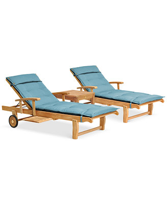 Anders outdoor teak 3 pc chaise set 2 chaise lounges and - Chaise anders patchwork ...