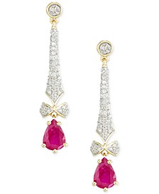 Certified Ruby (1-1/3 ct. t.w.) and Diamond (1/2 ct. t.w.) Drop Earrings in 14k Gold