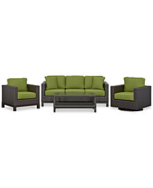 CLOSEOUT! Katalina Outdoor Wicker 4-Pc. Seating Set (1 Sofa, 1 Club Chair, 1 Swivel Glider and 1 Coffee Table), Created for Macy's