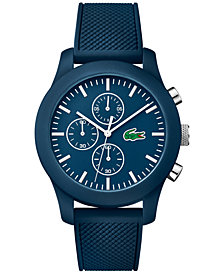 Lacoste Men's Chronograph 12.12 Blue Silicone Strap Watch 44mm 2010824