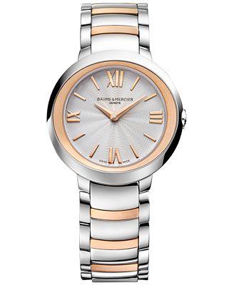 Baume & Mercier Women's Swiss Promesse Stainless Steel & 18k Rose Gold-Plated Bracelet Watch 30mm M0A10159