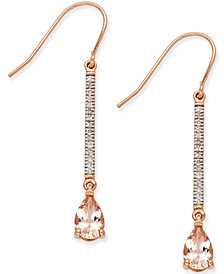 Morganite (1-2/5 ct. t.w.) and Diamond (1/8 ct. t.w.) Linear Drop Earrings in 14k Rose Gold