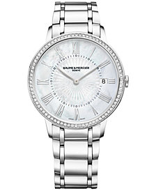 Baume & Mercier Women's Swiss Classima Diamond (2/5 ct. t.w.) Stainless Steel Bracelet Watch 37mm M0A10227